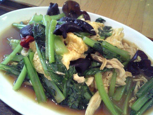 鶏ささみと青菜と玉子の炒め